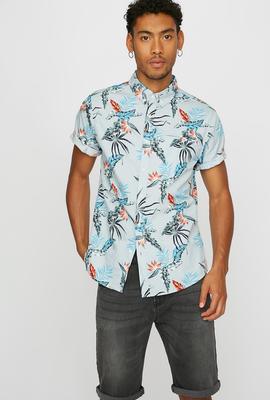 men fashion floral print button up
