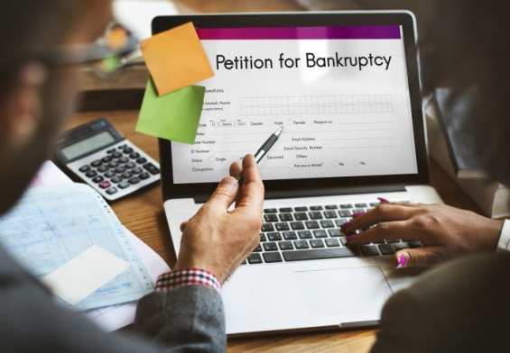 laptop with bankruptcy petition
