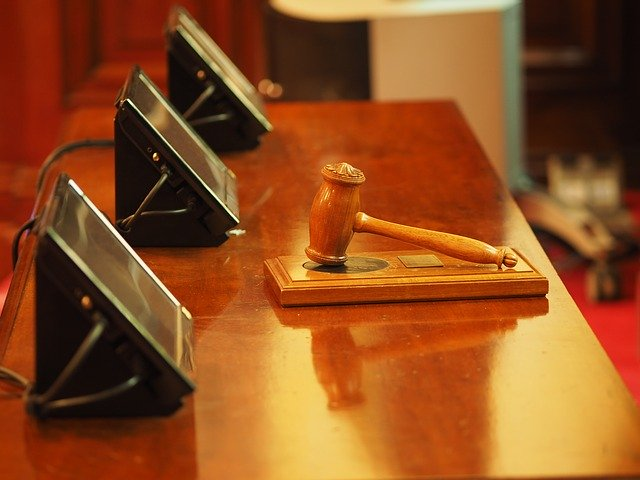 courtroom gavel with touchscreens